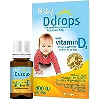 Ddrops 婴儿维生素D3滴剂 400IU 90滴/瓶  2.5mL (0.08盎司)