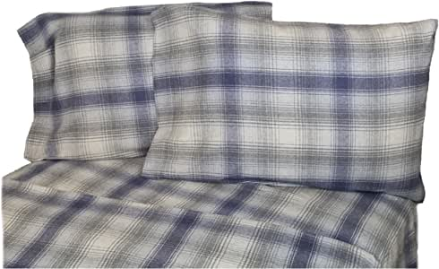 La Rochelle Heathered 格子法兰绒床单套件,加州大号双人床,蓝色 蓝色 两个 11529