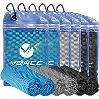 YQXCC 清凉毛巾 4 条装(119.38 厘米 x 30.48 厘米)超细纤维瑜伽毛巾男女皆宜冰凉毛巾,适合瑜伽健身…