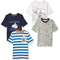 Disney 斑点斑马图案 - 男孩幼童和儿童米老鼠 4 件装短袖 T 恤