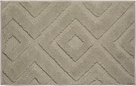 "Jean Pierre Lilah Plush Micropolyester Textured Bath Mat, 17 x 24"", Linen"