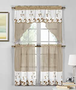 Kandi Strawberry Emb Kitchen Curtain Set White-Taupe