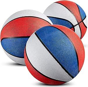 迷你篮球(7 英寸,3 个装)3 件装 - 迷你红白蓝篮球套装适合室内、户外派对、爱国活动、小型篮球游戏派对用品适合儿童