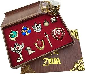 塞尔达传说暮光公主 & Hylian 盾牌和大师剑精品收藏套装钥匙扣/项链/珠宝系列 Red-10set