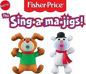 Fisher-Price 费雪 Mattel Sing-A-Ma-Jigs 圣诞组合玩具二人组-驯鹿和雪人