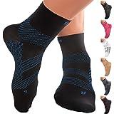 TechWare 专业护踝压力袜 - 足底*缓解*袜,带足弓支撑。 脚套缓解跟腱*和脚跟*。 女士和男士。 日常使用和受伤恢复 黑色/蓝色 M (Women 8.5-11.0 / Men 7.5-10.0)