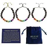 Believe London Chakra 手链带珠宝袋和含义卡 - 可调节手镯适合任何手腕 7 Chakra 天然石…