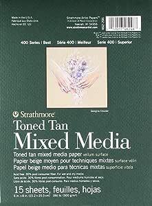 "Strathmore 400 系列 Toned Mixed Media Pad 胶水床,每张 15 张 棕褐色 6"" x 8"" 462-206"