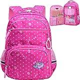 防水女孩背包适合小学小学生大号儿童书包笔记本电脑包 Style 1- Rose Red 大