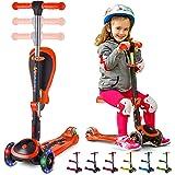 S SKIDEE 儿童滑板车,带折叠/可拆卸座椅 - 可调节高度,3 个 LED 灯轮,3 轮踢踏板车,男女宝宝适用