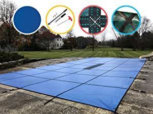 Water Warden Pool Safety Cover Solid Blue 16 by 32-Feet Pool