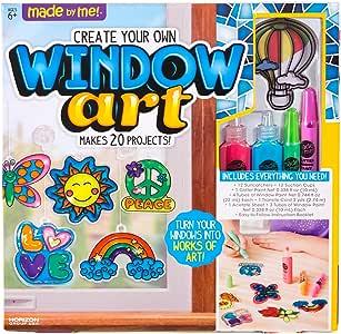 "Made By Me 彩绘画 来自Horizon Group USA的""绘制自己的橱窗艺术"" 套件包括12个预绘制的彩绘画+ DIY胶板料,橱窗油料,吸盘等,多种颜色"