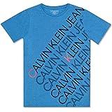 Calvin Klein 男童大号徽标圆领T恤