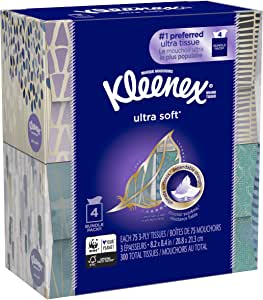 Kleenex 超软强面部纸巾,Ultra Soft 75 Tissues Each, 4 Count
