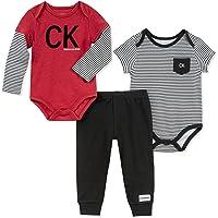Calvin Klein 婴儿男孩3件连体衣长裤套装