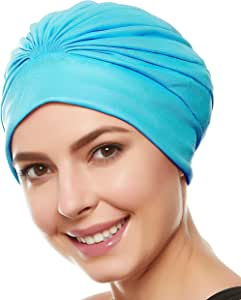Beemo 女式泳帽 头巾 – 涤纶乳胶内衬百褶女士和女孩长/短发(10 种颜色可选)