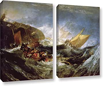 """ArtWall William Turner's Wreck of a Transport Ship 2 Piece Gallery Wrapped Canvas Set, 18"""" x 24"""""""