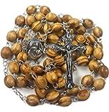 Nazareth Store 天主教祈祷念珠橄榄木项链圣土壤勋章和金属十字天鹅绒礼品袋
