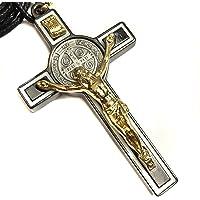 7.62cm 圣本科目十字架吊坠黑白珐琅金色天主教勋章