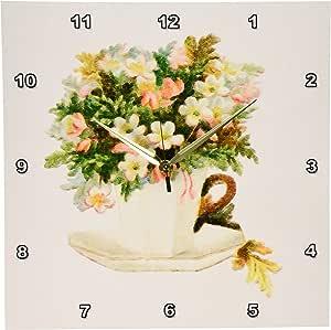 3dRose dpp_119591_2 维多利亚茶杯带花挂钟,13 x 13 英寸