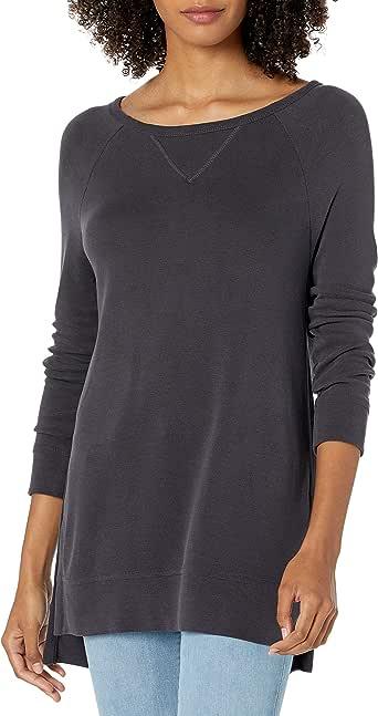亚马逊品牌:Daily Ritual 女士运动衬衫磨砂莫代尔混纺高低运动衫