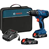 """Bosch 18V Compact 1/2"""" Drill/Driver Kit with (2) 1.5 Ah Slim…"""