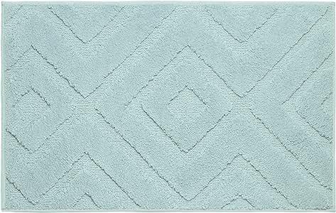 "Jean Pierre Lilah Plush Micropolyester Textured Bath Mat, 21 x 34"", Aqua"