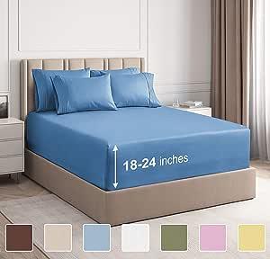 CGK Unlimited 超深口袋床单 - 7 件床单套装 - 分离式大号双人床床单 深口袋 - 超深床单 - 53.34 厘米深口袋 牛仔蓝 加州King size