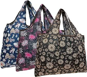 可包装可重复使用的购物袋(3 件套) Dogs & Flowers 大 A72109c