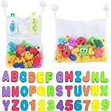 Comfylife 2 x 网眼洗澡玩具收纳盒 + 6 个*挂钩 + 36 个字母 大 白色