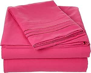Elegant Comfort 床上用品奢华 4 件套床单套件 1500 支埃及品质无皱防*,深口袋22 种颜色可供选择,单人床,双人床,大号双人床,加大号双人床,加州大号双人床,加州大床,特大双人床 桃红色 两个 COMIN18JU065544