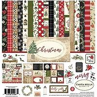 Carta Bella Paper Company CBCH89016 圣诞节收藏套件,红色,绿色,黑色,棕褐色