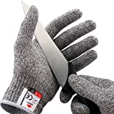 NoCry 防切手套-高性能5级防护,食品级,中等大小,包括免费电子书