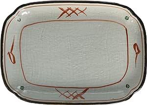 山下工芸(Yamasita craft) 赤矢来7.0小判皿 13.3×18.4×1.8cm 15904-158