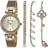Anne Klein 女士施华洛世奇水晶点缀金色网眼手表和手链套装