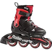 Rollerblade Microblade 男孩可调节健身内联滑冰,黑色和红色,青少年,青年性能直排轮滑