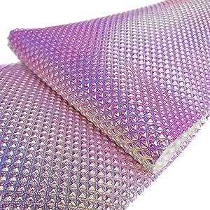 ZAIONE 8 英寸 x 53 英寸 (21cm x 135cm) 金属光泽虹色皮革面料全息人造水晶工艺品鞋袋缝制拼接 DIY 蝴蝶结工艺贴花 Diamond Lattice(Violet&Pink) SKU00131_041