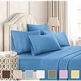 CGK Unlimited 加大双人床床单套装 - 白色床单 - 床单 床套 4 个枕套 - 超深口袋 - 超细纤维 - 比埃及棉更柔软 - 酒店奢华 牛仔蓝 加州King size