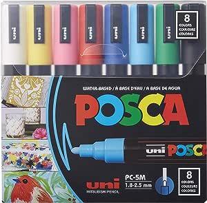 三菱铅笔 水性笔 POSCA 中字 圆芯 8色套装 中字 8色套装