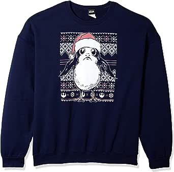 Star Wars 男士官方* PORG 毛衣圆领羊毛衫  Blue//Officially Licensed Star Wars Porg Sweater Crew Fleece Large