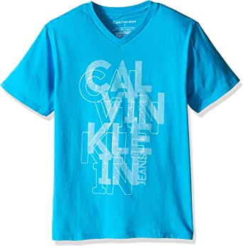 Calvin Klein 男孩儿 Gridiron V 领短袖 T 恤
