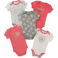 Calvin Klein 婴儿女童多色短袖连体衣 (5个装)