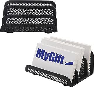 专业黑色金属网面 3 隔层名片夹/桌面收纳架 - MyGift S 2 件套