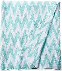 Rizzy 家用编织棉布抱毯 Aqua/White 50 x 60 英寸 TH0198