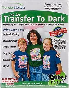 "Ink Jet Transfer Paper 8.5""X11"" 5/Pkg-For Dark Fabrics"
