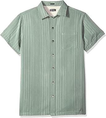 Van heusen 男式印花人造丝短袖衬衫