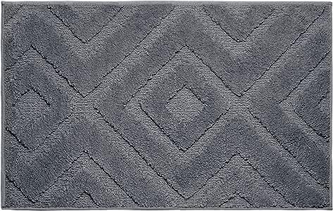 Jean Pierre Lilah 毛绒超细涤纶织纹浴垫套装,21 x 34 英寸(约 53.34 x 86.4 厘米),(2 件套) 金属枪 21x34 YMB004076