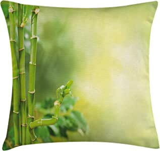 Spa Decor Throw Pillow Cushion Cover by Ambesonne, Green Beautiful Asian Bamboos with other Tree Braches and Bushes Image, Decorative Square Accent Pillow Case, 18 X18 Inches, Green and Light Green