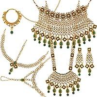 I Jewels 传统镀金 Kundan & Pearl Green 新娘套装 (BLP008G)