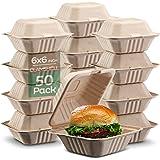 * 可降解蛤壳Take Out 食品容器 [15.24 x 15.24 cm 50 个装] 高强度容器,天然一次性袋,环…